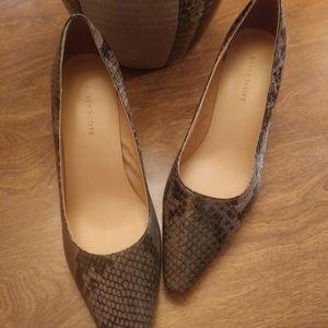 Karen Scott snake print brown black heels